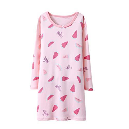 YuanDian Mädchen Nachthemd Lange Ärmel Herbst Winter Drucken Warm Weich 100% Baumwolle Kinder Nachtkleid Pajama Teenager Schlafen Schlafanzug Rosa Wassermelone 150