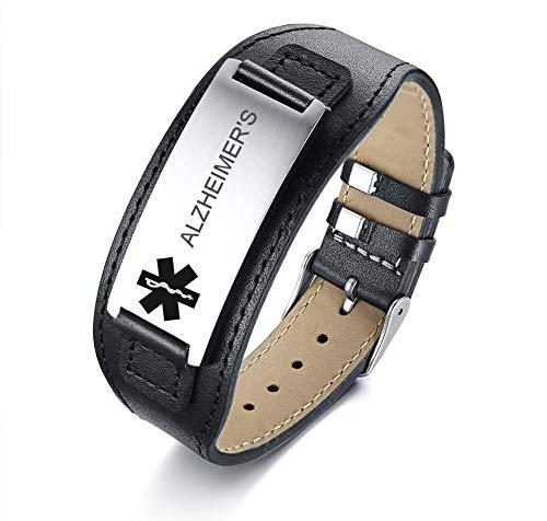 Save %67 Now! VNOX Medical Alert Alzheimer's Wide Genuine Leather Stainless Steel Adjustable Bracele...