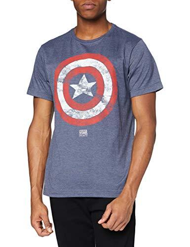 Marvel Captain America Shield Camiseta, Azul Grisáceo, M para Hombre