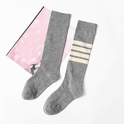 Alvnd Women's Cotton Socks Casual Wild Stripes Design Comfortable Tube Socks Casual Wild Women's Socks (3 Pairs) (Color : Gray, Size : 4.5-7 UK/35-41 EU)
