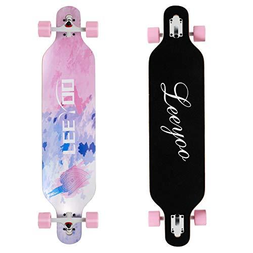 Longboard Skateboard, 41 Inch 8 Layer Natural Maple Drop Through Longboards for Kids Boys Girls...