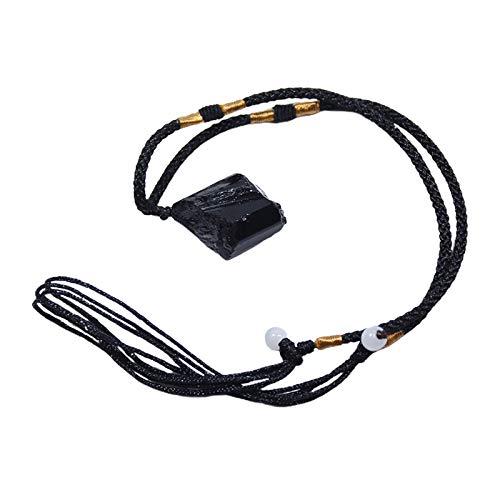 kowaku Collar con Colgante de Protección de Varilla de Piedras ásperas Crudas de Reiki Plano de Turmalina Negra