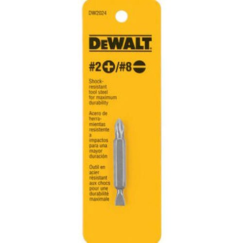 DEWALT DW2024 #2 Philips and #8 Slotted Double Ended Screwdriver Bit,Silver metallic