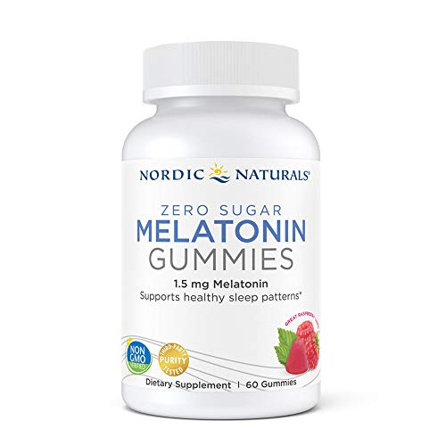 Nordic Naturals Zero Sugar Melatonin Gummies, Raspberry - 1.5 mg Melatonin - 60 Gummies - Great Taste - Restful Sleep, Antioxidant Support - Non-GMO, Vegan - 60 Servings