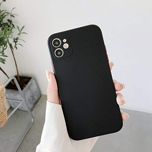 AAA&LIU Funda de Silicona líquida Cuadrada para iPhone 11 Pro X XR XS MAX 7 8 Plus Carcasa Trasera Suave a Prueba de Golpes de Color Caramelo, Negra, para iPhone 11