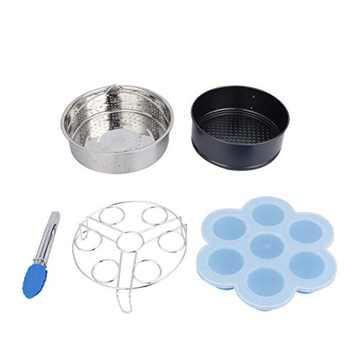 5 Unids/set Kit de Molde de Pastel con Abrazadera de Cesta de Vapor para Alimentos para Freidora