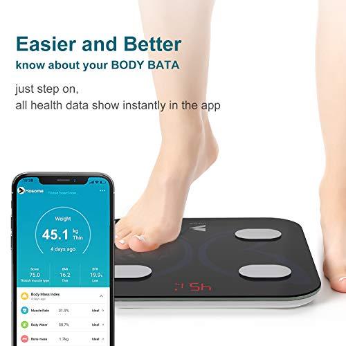 Bilancia Pesapersone Digitale, Hosome Bilancia Impedenziometrica Intelligente Bluetooth Analizzatore di Composizione Corporea con smart App per Massa Grassa e Magra, BMI, Grasso Viscerale