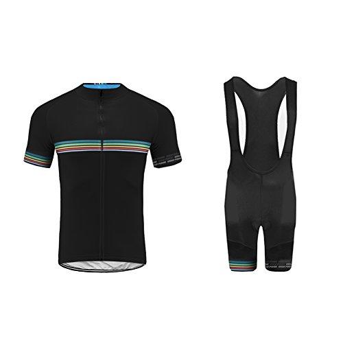 UGLY FROG Maillot Cyclisme Homme Manches Courtes Cuissard Vélo Cyclisme avec 3D Gel Rembourré Respirant Séchage Rapide pour Le Tour de France A01