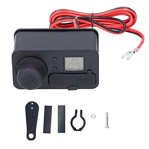 Adaptador de carga para motocicleta, Akozon Universal 12V USB tipo C Impermeable Adaptador de fuente de alimentación para teléfono con encendedor de cigarrillos(Plata)