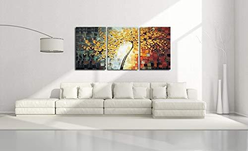 OilYY Handgemalte Ölgemälde Ungerahmt 3 Panels Yellow Rich Tree Spachtel Gemälde Handgemalte Home Decor Große Ölgemälde Moderne Abstrakte Wandkunst