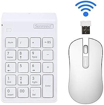 Mini Combo de Teclado y Ratón, Teclado Inalámbrico y Ratón óptico 2,4 G Mini USB 19 teclas para teclado numérico para oficina ordenador portátil PC de ...