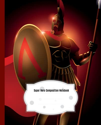 Spartan Warrior Composition Notebook: Beautiful Wide Blank Lined Workbook for Kids Girls Boys Students Teens Home School and College