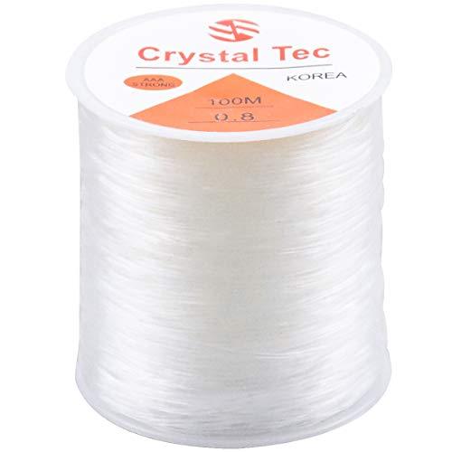 Kissral - Cordón elástico, 0,8 mm, transparente, elástico, 100 m, para fabricación de joyas, pulsera, hilo de perlas