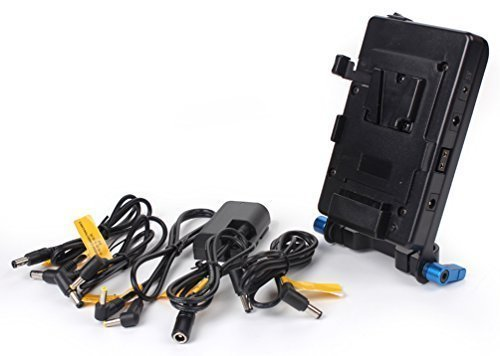 SOONWELL V Lock Mounting Plate Power Supply Splitter with 15mm Rod Clamp LP-E6 Battery Adapter DC Coupler for Camera