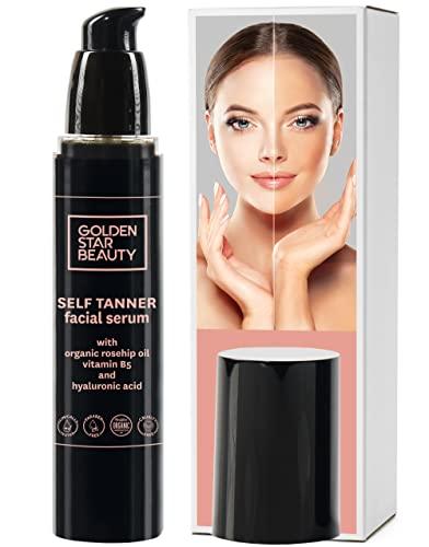 Autobronceador Facial - Bronceado de Cara para un brillo natural - con Ácido Hialurónico y Aceites Orgánicos - Bronceador Hidratante de 60 ml