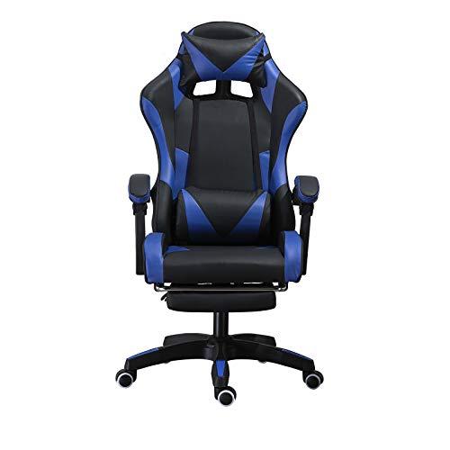 Silla ergonómica para juegos, silla para juegos, asiento acolchado, silla de jefe con reposabrazos, silla de oficina con corazón, altura ajustable (Negro)