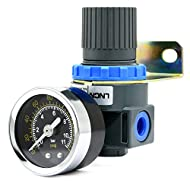 Air Pressure Regulator with Gauge Mini Air Control Valve 1/4-Inch NPT Thread for Air Compressor and Air Tools (0-145PSI)