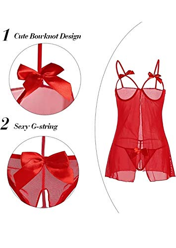 FIMS - Fashion is my style Women Girl (Gift Wrapped Packing) Lingerie Women Innerwear Lingerie for Women Sexy Lingerie for Honeymoon Lingerie Set Babydoll Nightwear for Women Free Size Red