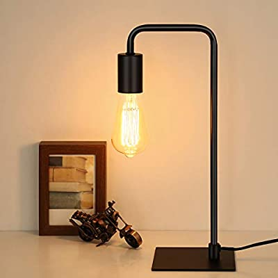 HAITRAL Industrial Desk Lamp - Vintage Style Black Table Lamp for Office, Small Nightstand Lamp for Bedroom, Bedside, Dorm Room