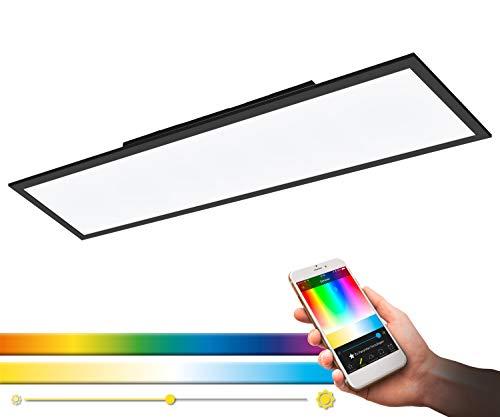 EGLO connect LED Deckenleuchte Salobrena-C, 1 flammige Deckenlampe aus Aluminium und Kunststoff in Schwarz, Weiß, mit Fernbedienung, Farbtemperaturwechsel (warm – kalt), RGB, dimmbar, L 120 cm