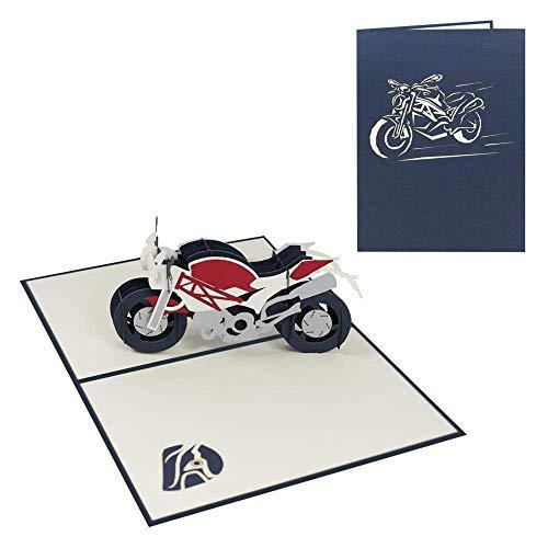 Motorad 3D Geburtstagskarte Pop Up Karte Biker Glückwunsch Führerschein Glückwunsch Gutschein Geschenkkarte - Motorad 1/006