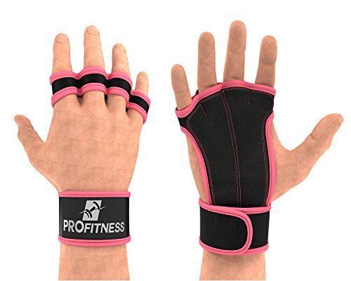 Weights gym hand gloves rope climbing gloves weights for men gear for men wrist gloves cut off gloves women lifting gloves pullup gloves wrist protection full finger weight lift (Pink, Small)