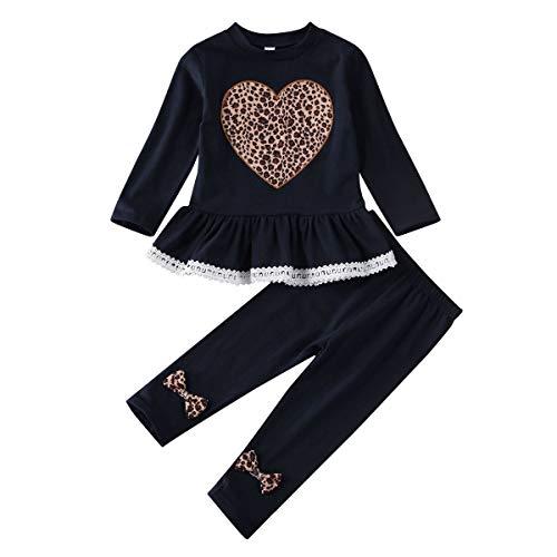 Geagodelia Kinder Kleidung Set Mädchen Kleidung Langarm Shirt Tunika + Legging Hose 1-6 Jahre Kleinkinder Festlich Hochzeit Outfit Set (Navy, 3-4 Jahre)