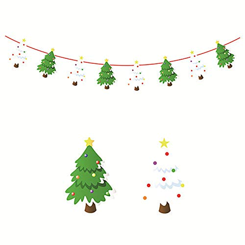 Christmas Banners Flags Santa Claus Paper Elk Snowman Triangle Xmas Tree Hanging Bunting Garland Paper Christmas Door Wall Window Hanging Decor Ornaments Home Office Hotel Party Scene Decor Supplies