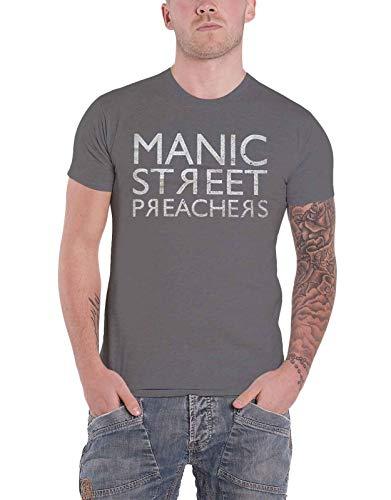 Manic Street Preachers T Shirt Reversed Band Logo Nue offiziell Herren Grau