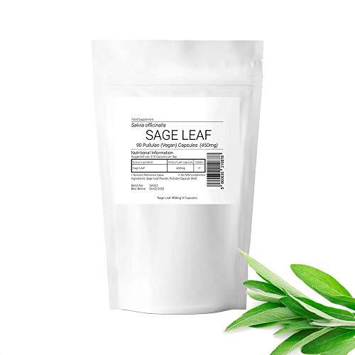SAGE Leaf Capsules 450mg Vegan Vegetarian Kosher Halal Menopause Relief Capsules (180 Capsules)