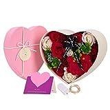 Danolt Flor de Jabón en Caja de Regalo, Forma de Corazon Flor de Rosa Artificial, para el día de la Madre, el día de San Valentín, el día del Maestro, la Boda, la Decoración del Hogar