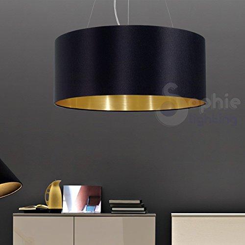 Lustre suspension réglable abat-jour en tissu diamètre 53 cm design moderne noir or salle à manger EG 50613 SOPHIE LIGHTING