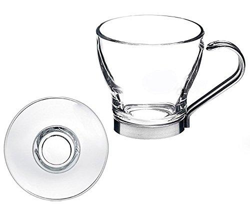 takestop Set 6 TAZZINE 120ml Tazza da Caffe Caffe' in Vetro con Manico Acciaio PIATTINO Piatto Bicchiere ESPRESSINO Bar