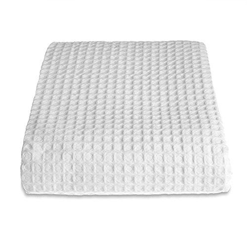 Allure Hotel-Kollektion Waffelpique Tagesdecke, Decke, Überwurf, 100 % Baumwolle, weiß, Small 175 x 225 cm