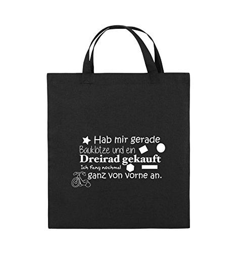 Comedy Bags - Hab Mir gerade Bauklötze und EIN Dreirad gekauft - Neuanfang - Jutebeutel - Kurze Henkel - 38x42cm - Farbe: Schwarz/Weiss