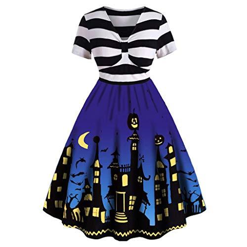 Damen Kleid mit V-Ausschnitt, Vintage-Stil, kurzärmelig, V-Ausschnitt, geknotet, V-Rücken - Blau - Mittel