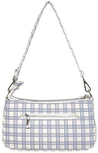 Vintage Schultertasche, Umhängetasche Retro PU Retro Achsel Karierte Tasche Damen Tasche Kleine Segeltuchtasche (Weiß, 27 * 13.5 * 5cm)