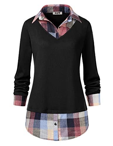 Women's Plaid Layered T-Shirt, DJT Curved Hem Buttons Pullover Tops 3/4 Sleeve Sweatshirt T-Shirt Top L Black