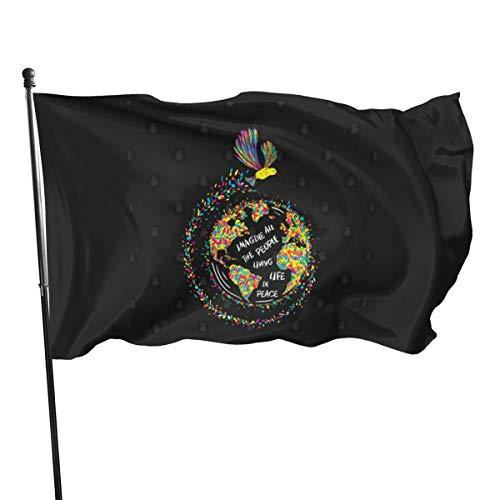 N/ Imagine All The People Living Life In Peace Hummingbird - Bandera de 7,6 x 12,7 cm