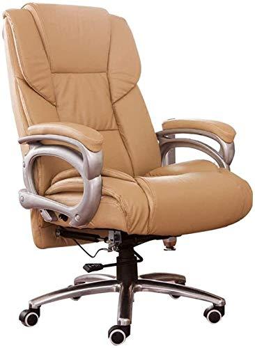 Schwenkbarer Bürostuhl Möbel Boss Stuhl Home Computer-Stuhl Moderner Minimalist Bürostuhl Leder-Drehstuhl Massagesessel 160 Grad Reclining Positionierung Stühle (Farbe: Braun, Größe: 54 * 50 * 137 cm)