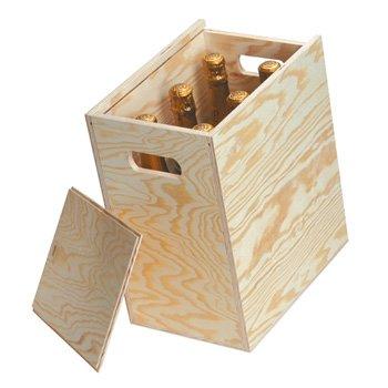 6 botella tapa deslizante caja de madera/Hamper: Amazon.es: Oficina y papelería