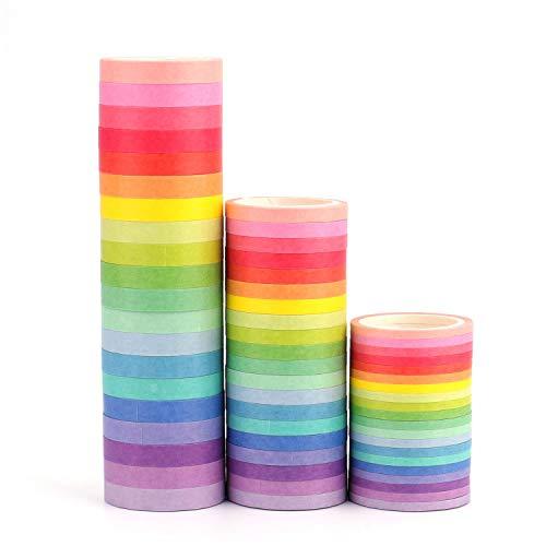 Tebery 60 x Washi Tape Set 3diy Decorativa Arco Iris Cinta Adhesiva Decorativa Bandas Pegatinas 3 mmx5 m, 5mmx5 m, 7.5mmx5 m (más Colores)
