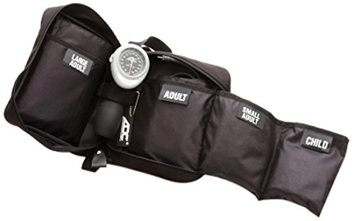 ADC - 732-BK Multikuf 732 4-Cuff EMT Kit with 804 Portable Palm Aneroid Sphygmomanometer, Child, Small Adult, Adult and Large Adult Blood Pressure Cuffs (13-50 cm), Nylon Zipper Storage Case, Black