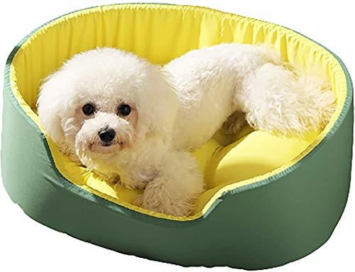 Lujo Camada de mascotas, rodeado 3D, gato de doble cara lavable y basura para perros, cama suave y esponjosa, almohada para gatos, universal en todas las estaciones, gran espacio, duradero, verde, l