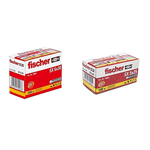 Fischer 37430 Taco SX-6 Caja 100, 0 W, 0 V, Gris, 6x30 + 70005 Taco Nylon Expansión SX 5 x 25, Gris, 0 W, 0 V, 5x25
