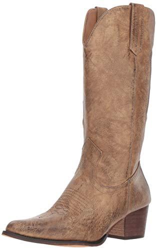 "ROPER Womens Nettie Pointed Toe Western Cowboy Boots Mid Calf Mid Heel 2-3"" - Tan - Size 9 B"