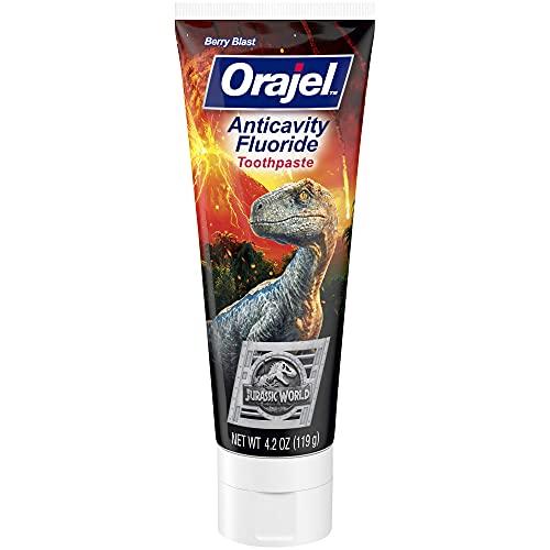 Orajel Jurassic World Anticavity Fluoride Berry Blast Flavor- Kids Toothpaste Tube, 4.2 Oz