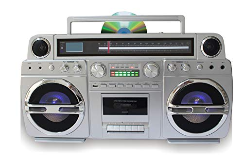 TechPlay Monster 1980S-Style Boom Box CD Player, Cassette Player/Recorder, AM/FM, USB, Bluetooth Speaker with Built-in Rechargeable Battery