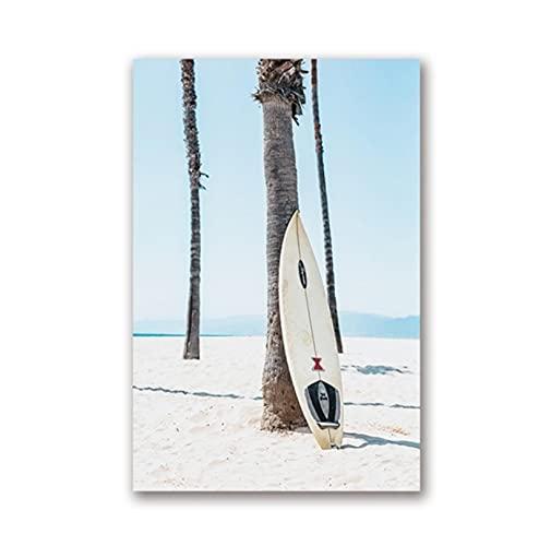 DUYANQIU Póster de Lienzo de Tabla de Surf de Surf,Cuadro deLienzo nórdico,Cuadro de Pared para Estudio en casa, Dormitorio, decoración de habitación-40x60cm sin Marco