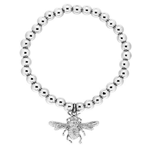 Sweet Deluxe Stretcharmband Bee, zilver I armbanden voor dames en meisjes | flexibel – meisjesarmband | cadeau-idee verjaardag | bangle vrouwen armbanden unisex verstelbaar